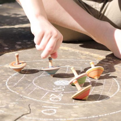 wooden spinning tops game