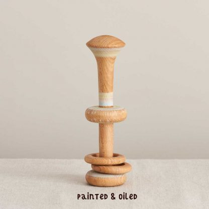 painted and oiled wooden rattle