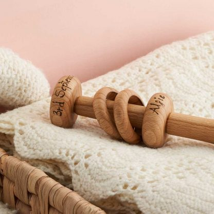 personalised handmade wooden rattle