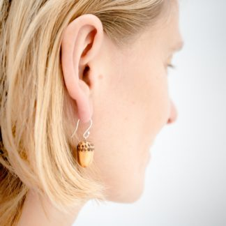 wooden earrings acorn jewellery by love heartwood