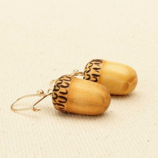 acorn earrings with gold ear wires