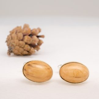 wood cufflinks oval shaped