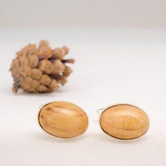 wood cufflinks oval shaped