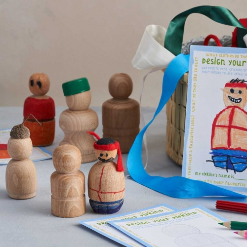 wooden peg doll characters made from recycled materials