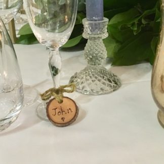 wooden name tags