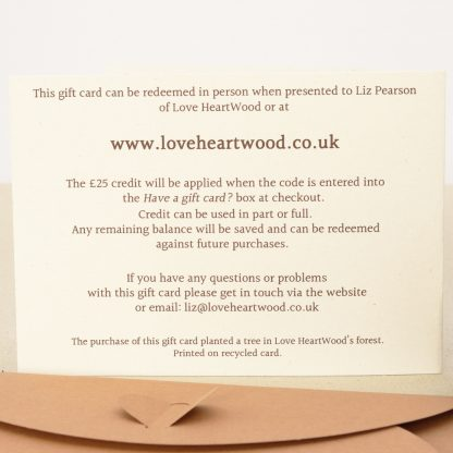 eco friendly love heartwood gift card