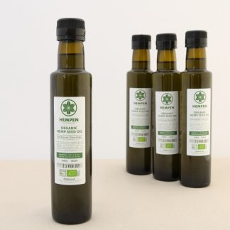 250ml glass bottles of organic hemp seed oil