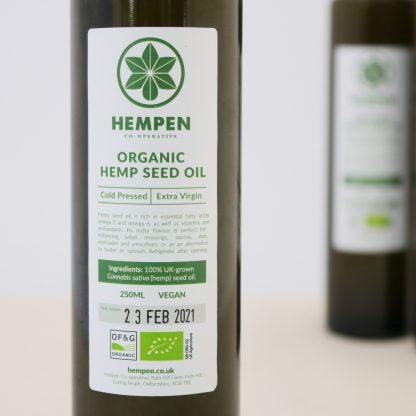 organic hemp seed oil in a glass bottle