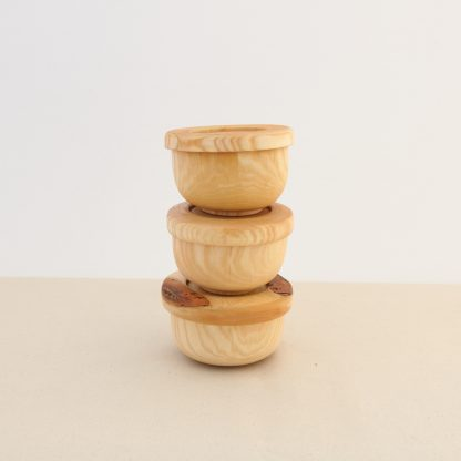 small stacking wooden bowls