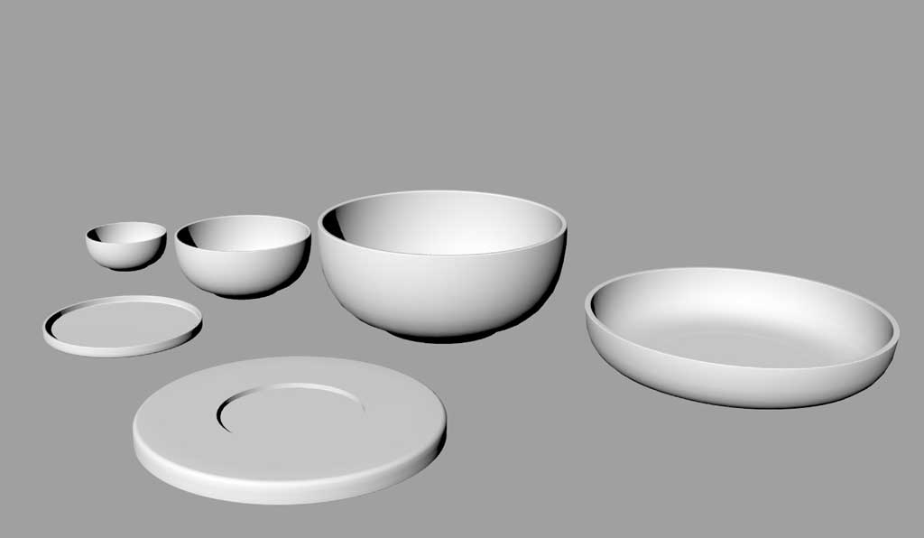 rendered CAD design of the 3 bears wooden dinner set