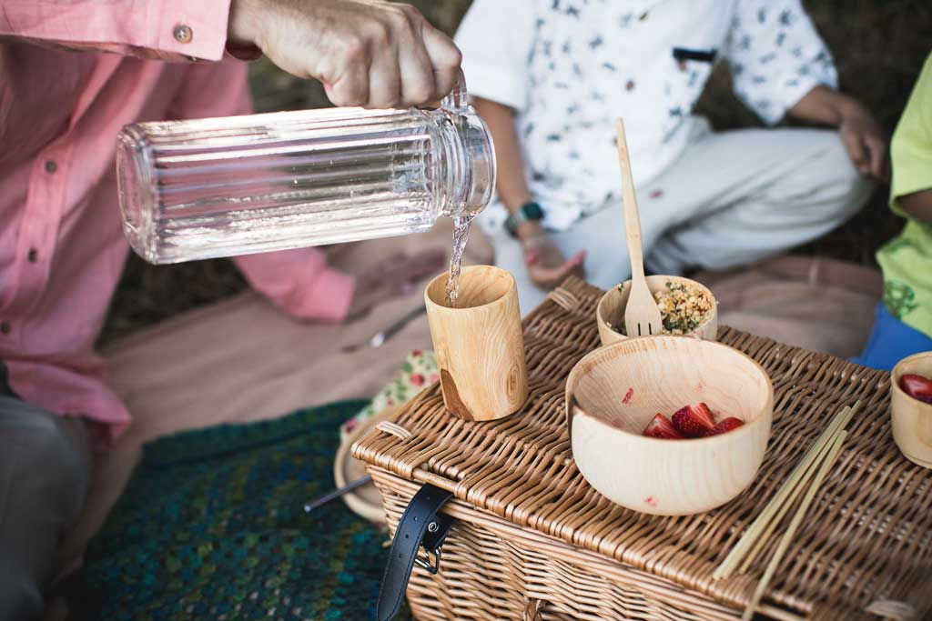 wooden picnic cup