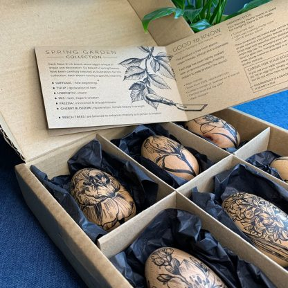 wooden eggs in a gift box