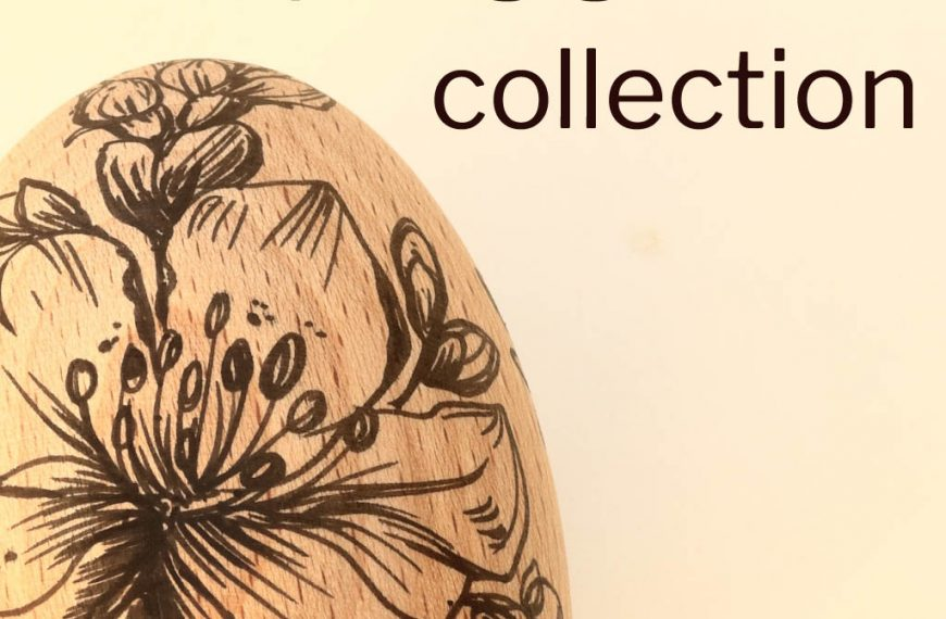 Wooden Eggs Featuring Hand Drawn Spring Flowers
