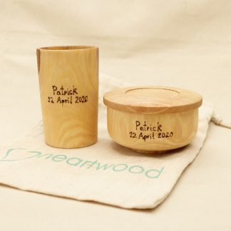 wooden bowl and cup set