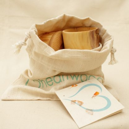 wooden bowl and cup toddler set in a cotton gift bag