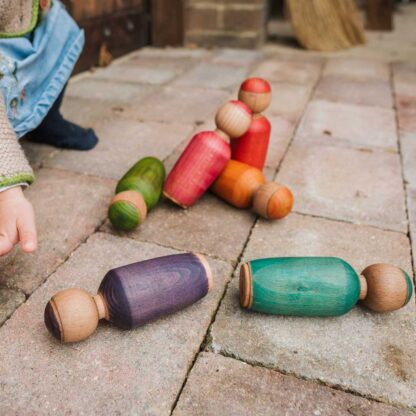 colourful wooden skittles