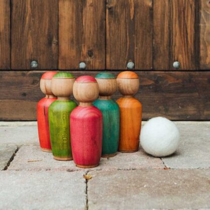 childrens wooden skittles set